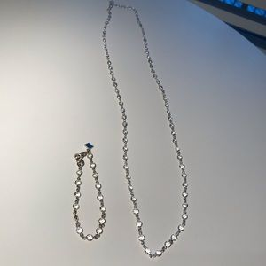 Banana Republic long silver necklace and bracelet